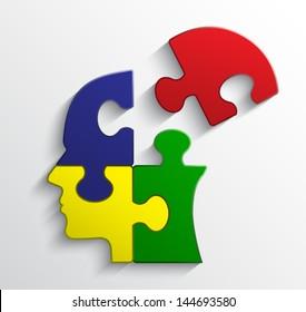 color puzzle head / vector illustration eps 10