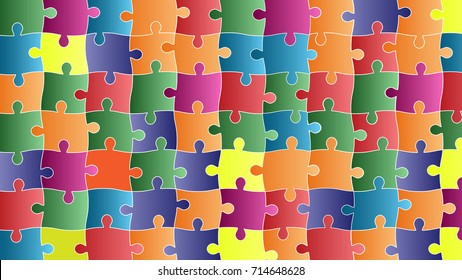 Color Puzzles Pieces Arranged in a Rectangle