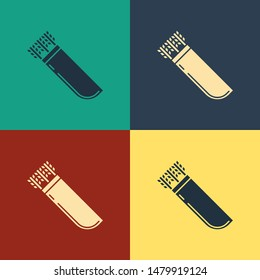 Color Quiver with arrows icon isolated on color background. Vintage style drawing. Vector Illustration