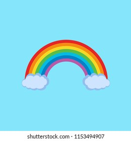 Color Rainbow With Clouds,