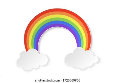 Color rainbow with clouds isolated on white background. Vector Illustration