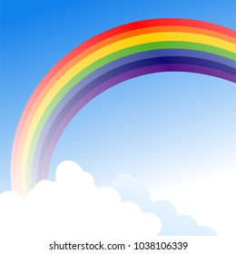 Color rainbow with clouds. Vector illustration of rainbow with clouds in blue sky background.
