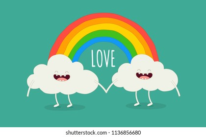 Color rainbow with emotion clouds. Vector illustrations. You can use for cards, fridge magnets, stickers, posters.