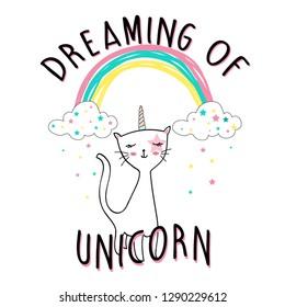 color rainbow star cat unicorn baby girl tee illustration art vector