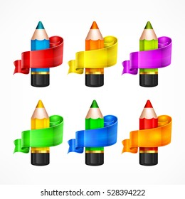 Color rainbow wooden pencils and ribbon. Set of pencil for school office. Colored crayons concept. Vector illustration