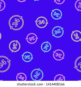 Color random seamless pattern Twenty four hour icon. Time symbol