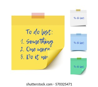 Color realistic vector sticky notes with shadow and text isolated on white background. Post it paper for to do list, checklist, reminder