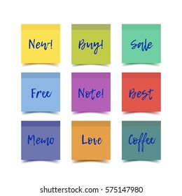 Color realistic vector sticky notes with shadow and text isolated on white background. Post it paper for online shop sale