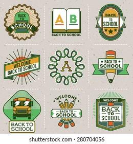 Color retro design insignias back to school logotypes set. Vector vintage elements. Cardboard texture.