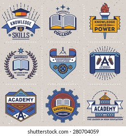 Color retro design insignias high education logotypes set 2. Vector vintage elements. Cardboard texture.