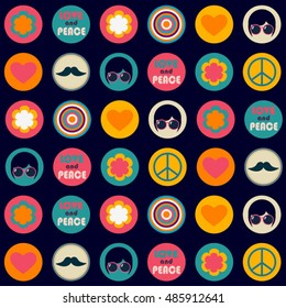 color retro hippie seamless vector pattern