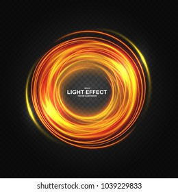 Color ring with luminous vortex spirals.  Glowing gold red circle with particles. Energetic shiny round frame, sparkles with waves and whirlwind. Sparkling neon fiery effect, brilliant magic banner