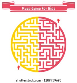 Color round maze. Painted in different colors. Game for kids and adults. Puzzle for children. Labyrinth conundrum. Flat vector illustration isolated on white background