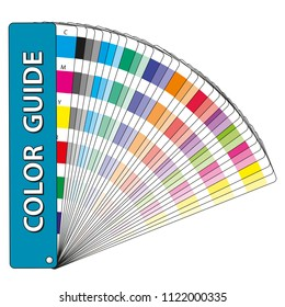 Color samples in a color guide with color swatches used in prepress and comercial printing. CMYK process tints. Color chips
