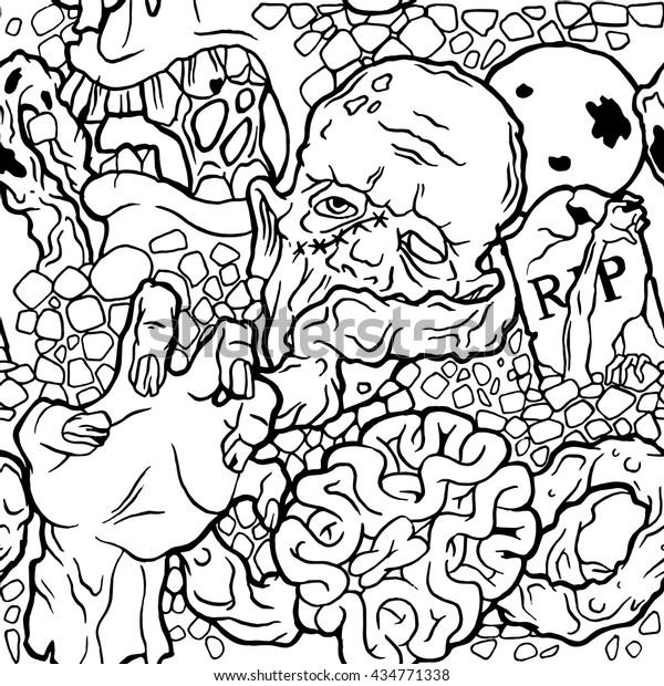 Color Seamless Halloween Pattern Zombie Stuff Stock Vector ...