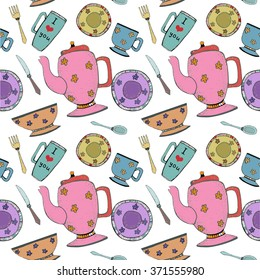 color seamless tableware pattern with teapot and cup,  bright kitchen background, graphic art style tools for cooking or cover table, or wrapping paper, food textile