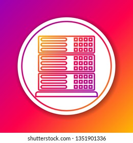 Color Server, Data, Web Hosting line icon isolated on color background. Circle white button. Vector Illustration