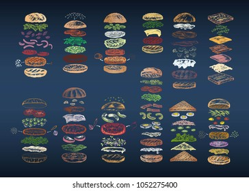 Color set of 12 different burgers disassembled into ingredients. Illustration drawn with chalk on blackboard. Menu theme