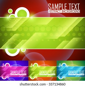 Color set of abstract background illustration. Ready for work with banner, site or business card. Orange, green, red and purple wallpaper.