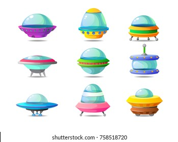 Color set of alien circle plates for the game UI. Vector cartoon illustration of a colourful UFO. Bright background images for print, create videos or web graphic design, user interface, card, poster