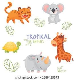 Color set cute tropical animals isolated background. On the picture there is a tiger, koala, giraffe, rhino, turtle. Stylized inscription and sketch of tree leaves