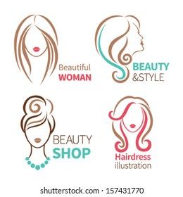 Color set of four beauty icon. Female heads with beautiful hair