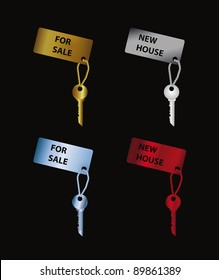 color set keys with label on black background