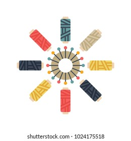 Color set of objects for sewing, handicraft. Sewing thread and pins. Vector flat illustration.