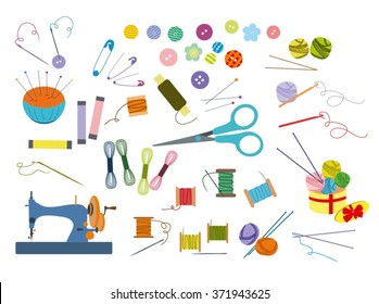 Color set of objects for sewing, handicraft. Sewing tools and sewing kit,sewing equipment, needle, sewing machine, sewing pin, yarn. Sew vector set.