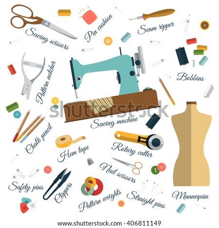 Color Set Objects Sewing Names Handicraft Stock Vector Royalty Free