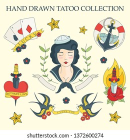color set of sailor tattoos - vector