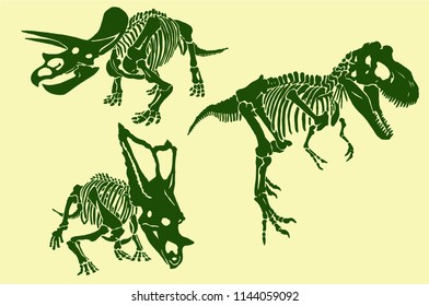 Color set of tyrannosaurus skeletons ,bright dinosaur design,vector