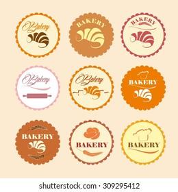 Color Set of vintage retro bakery logos, labels, badges, design elements.