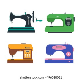 Color Sewing Machine Set. Flat Design Style. Vector illustration of Four Machines of Sewing. Green, Violet, Orange and Black. Retro and Modern Machines for Sewing. Equipment of a Dressmaker
