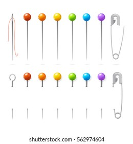 Color Sewing Needles or Pin Set Equipment for Seamstresses Different Types. Vector illustration