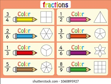 color the shape to show the fraction, educational, color the parts of the shape that represent each fraction, mathematics, math worksheet