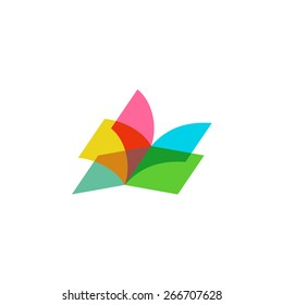 Color sheets transparent open book logo