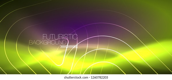 Color shiny neon lights background with abstract lines, magic energy concept