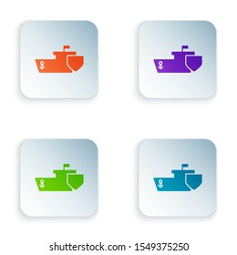 Color Ship with shield icon isolated on white background. Insurance concept. Security, safety, protection, protect concept. Set icons in colorful square buttons. Vector Illustration