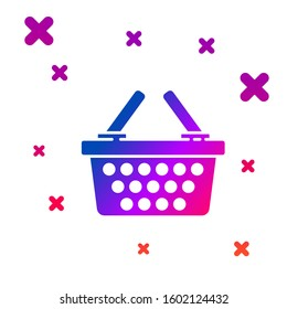 Color Shopping basket icon isolated on white background. Online buying concept. Delivery service sign. Shopping cart symbol. Gradient random dynamic shapes. Vector Illustration