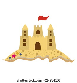 color silhouette with beach and sandcastle with flag vector illustration