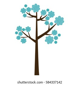 color silhouette with blue floral tree vector illustration