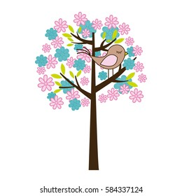 color silhouette with floral tree and bird vector illustration