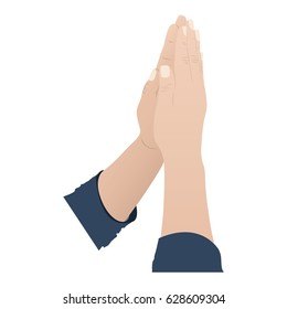 color silhouette of hands in position of pray in side view vector illustration