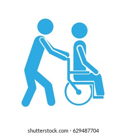 color silhouette person helping another push a wheelchair vector illustration