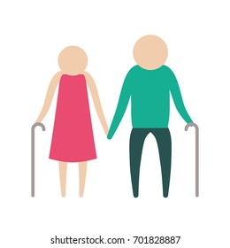 color silhouette pictogram elderly couple with walking sticks in clothes vector illustration