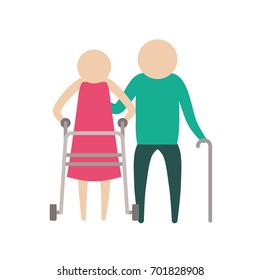 color silhouette pictogram elderly couple with walking sticks vector illustration