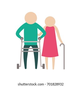 color silhouette pictogram elderly couple man and woman in walking sticks vector illustration