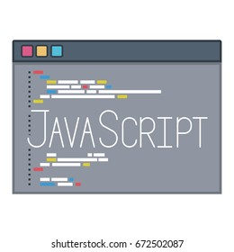color silhouette of programming window with code of javascript vector illustration