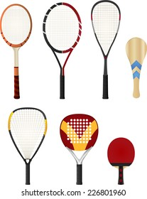 Color Silhouette rackets, with tennis racket, squash racket, ping pong racket, paddle racket. Vector illustration set.